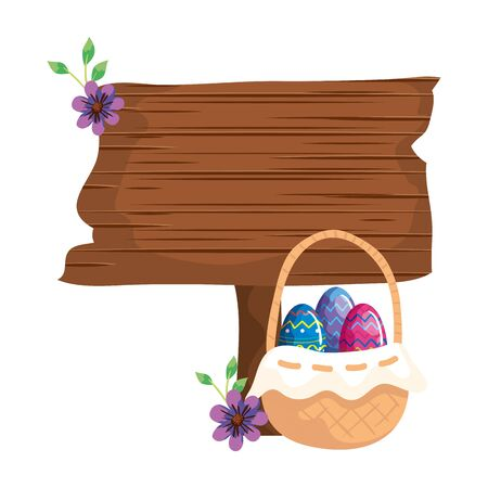 signal way wooden with eggs easter and flower vector illustration design Stockfoto - 144526624