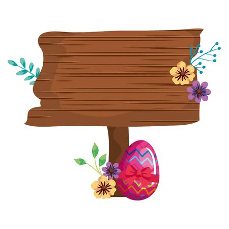 signal way wooden with egg easter and flower vector illustration design