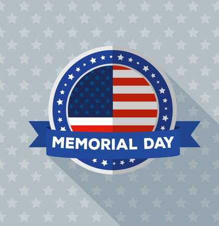 happy memorial day with flag in frame circular of usa and ribbon vector illustration design