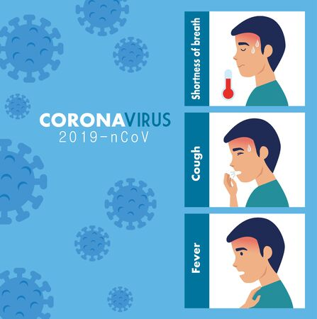 symptoms of coronavirus 2019 ncov with particles vector illustration design