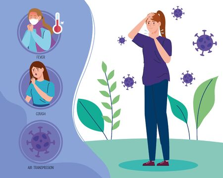 coronavirus 2019 ncov infographic and woman with sore throat and icons vector illustration design Vectores