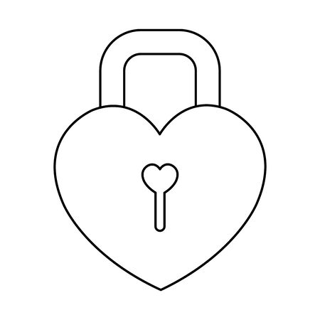 padlock in shape heart isolated icon vector illustration design
