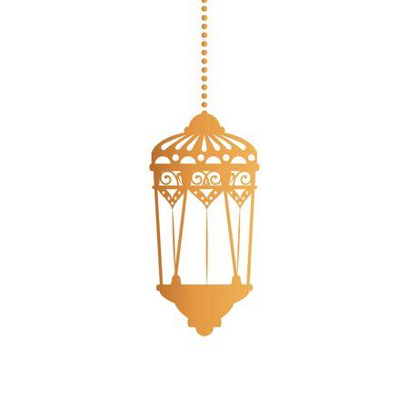 Hanging gold lantern design of Bohemic ornament indian decoration retro vintage meditation henna ethnic arabic texture and tribal theme Vector illustration Ilustración de vector