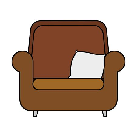 comfortable couch with cushion isolated icon vector illustration design