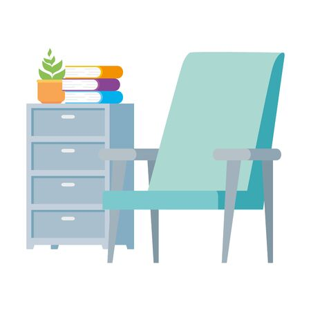 chair with drawer and books isolated icon vector illustration design