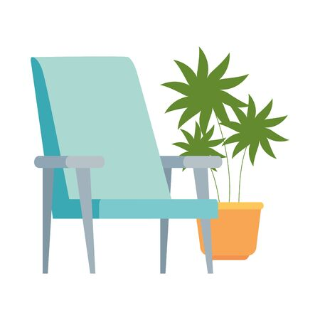 chair with pot plant isolated icon vector illustration design