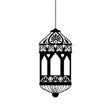 Hanging black lantern design of Bohemic ornament indian decoration retro vintage meditation henna ethnic arabic texture and tribal theme Vector illustration