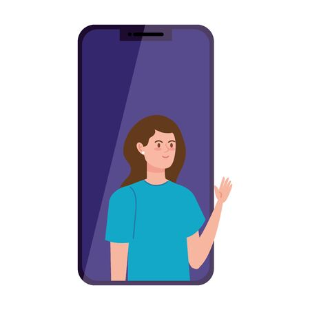 woman in video conference in smartphone vector illustration design