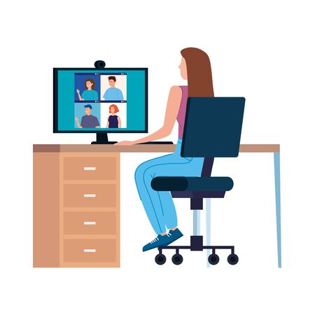 woman in video conference with computer in workplace vector illustration design