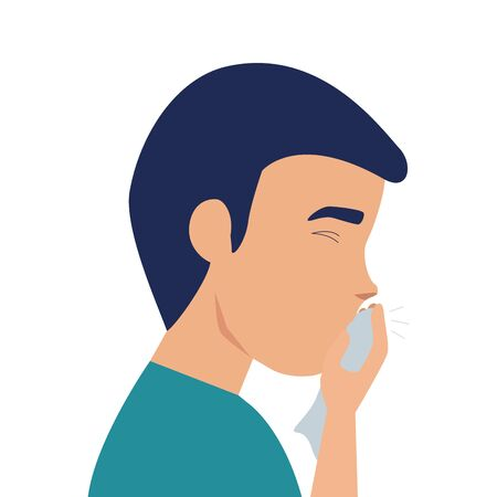 man with cough sick of covid 19 isolated icon vector illustration design