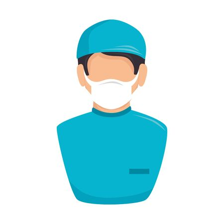 male paramedic with face mask avatar isolated icon vector illustration design