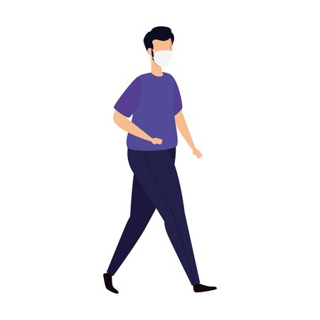 young man with face mask isolated icon vector illustration design  イラスト・ベクター素材