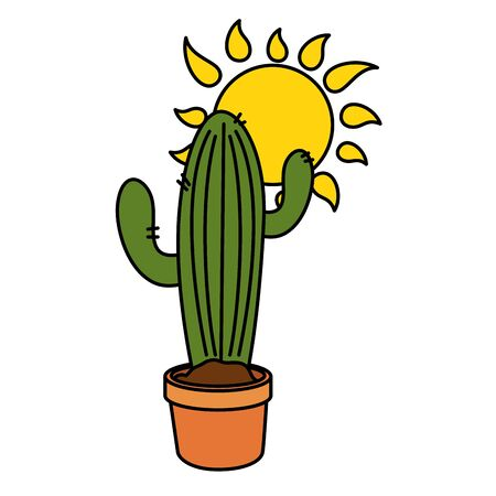 Cactus and sun design, Plant desert nature tropical summer mexico and western theme Vector illustration Illustration