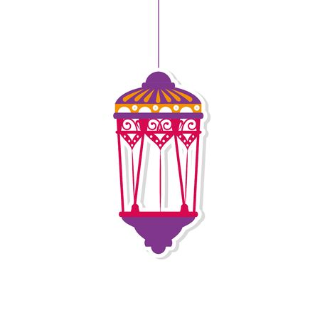 Hanging purple lantern design of Bohemic ornament indian decoration retro vintage meditation henna ethnic arabic texture and tribal theme Vector illustration