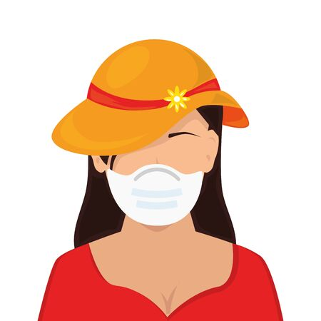 young woman with hat and face mask isolated icon vector illustration design