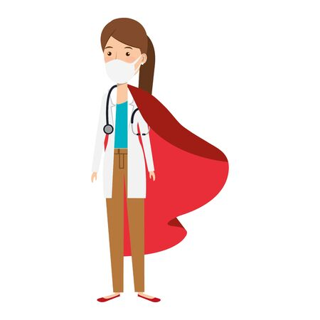 super doctor female with face mask and hero cloak vector illustration design