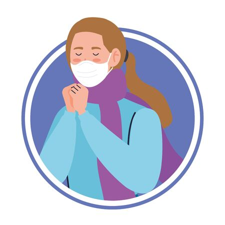 woman using face mask sick of covid 19 in frame circular vector illustration design Vectores