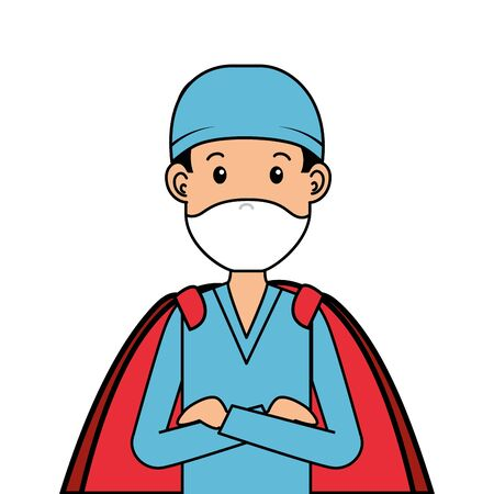 super male paramedic with face mask and hero cloak vector illustration design