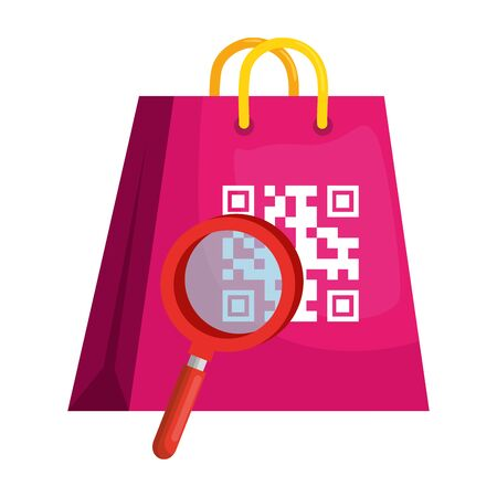 qr code over bag and loupe design of technology scan information business price communication barcode digital and data theme Vector illustration