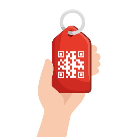 qr code over label and hand design of technology scan information business price communication barcode digital and data theme Vector illustration Stock Illustratie