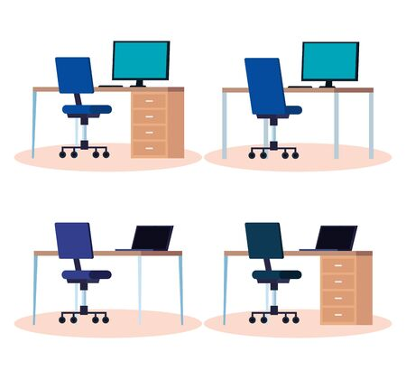 set of workplaces with desks and chairs vector illustration design