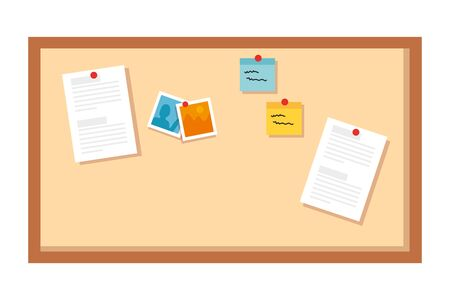 cork board supply with notes isolated icon vector illustration design