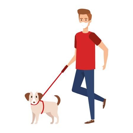 young man with face mask and dog mascot vector illustration design