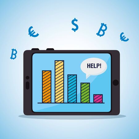 stock market crash and tablet with infographic vector illustration design