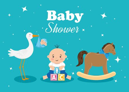 baby shower card with little boy and decoration vector illustration design