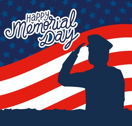 happy memorial day with decoration of soldier silhouette vector illustration design Vectores