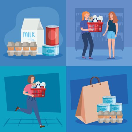 set scenes of women and buying in overstocking vector illustration design