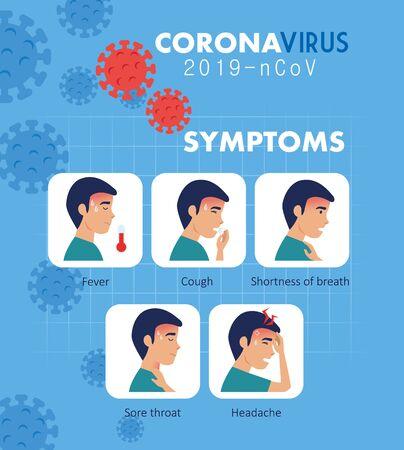 symptoms of coronavirus 2019 ncov with icons vector illustration design Vecteurs