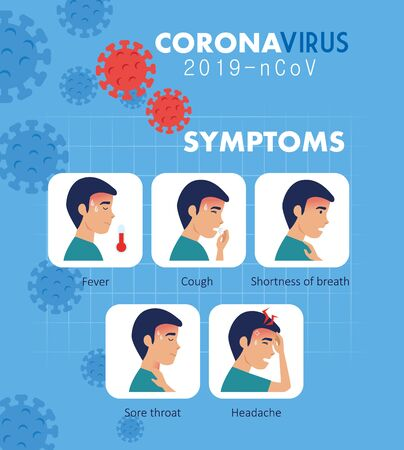 symptoms of coronavirus 2019 ncov with icons vector illustration design