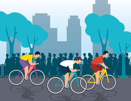 group of cyclists in championship vector illustration design