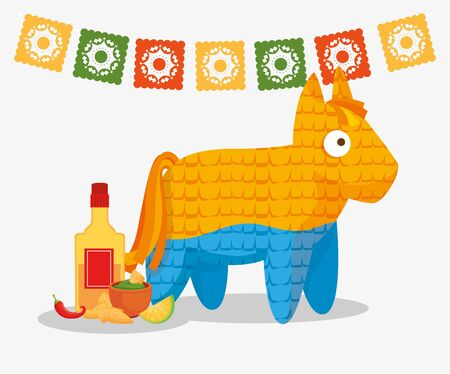 pinata and icons traditional of cinco de mayo vector illustration design