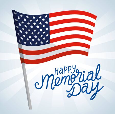 happy memorial day with flag usa of decoration vector illustration design