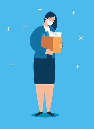 businesswoman sad unemployed with box vector illustration design Vektorové ilustrace