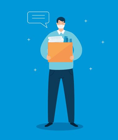 businessman unemployed and box with objects vector illustration design