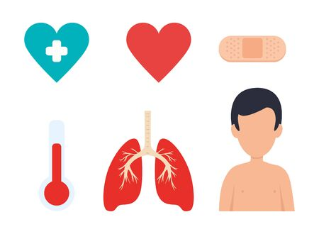 lungs organ with set medical icons vector illustration design