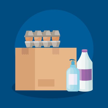 set eggs in package cardboard with box carton and bottles products cleaning vector illustration design