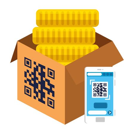 qr code over box coins and smartphone design of technology scan information business price communication barcode digital and data theme Vector illustration