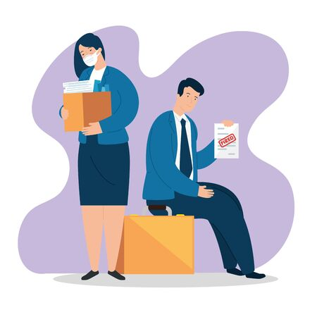 business couple using face mask fired of work vector illustration design