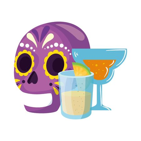 Mexican skull cocktail and tequila shot design, Mexico culture tourism landmark latin and party theme Vector illustration
