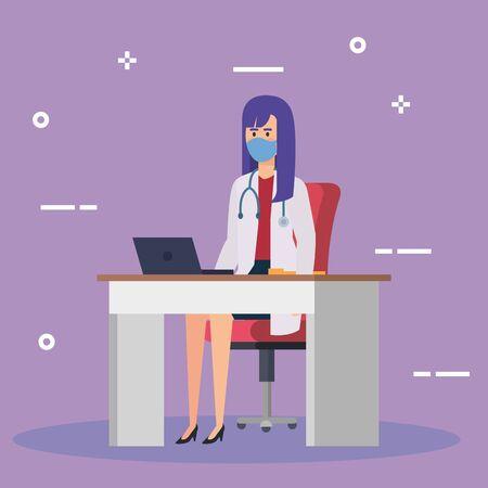 doctor female with face mask in desk vector illustration design Vectores
