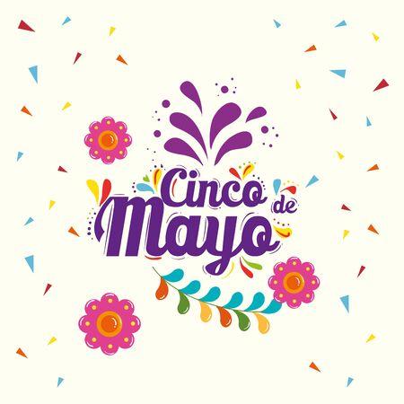 Mexican flowers and confetti design, Cinco de mayo mexico culture tourism landmark latin and party theme Vector illustration Vecteurs