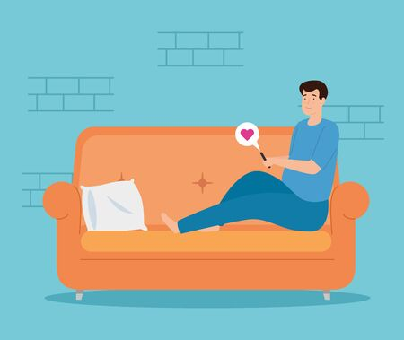 campaign stay at home with man in living room chatting in smartphone vector illustration design Векторная Иллюстрация