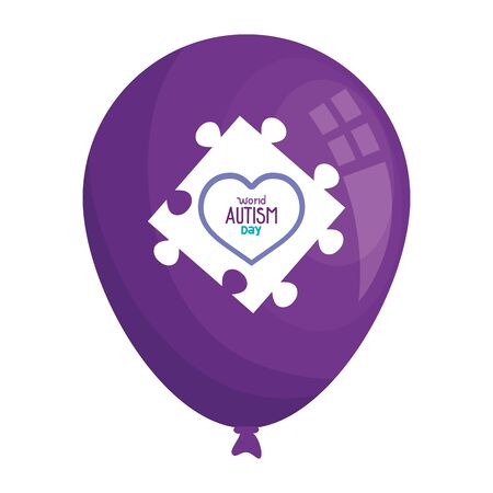 world autism day with balloon helium and puzzle piece vector illustration design