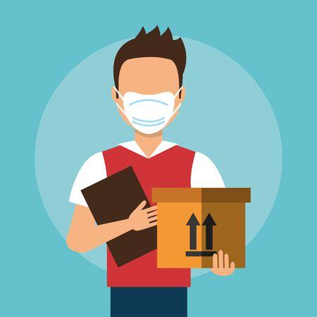 delivery worker using face mask with box carton vector illustration design Ilustración de vector