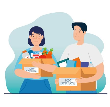 couple with boxes of charity donation vector illustration design Vektorové ilustrace
