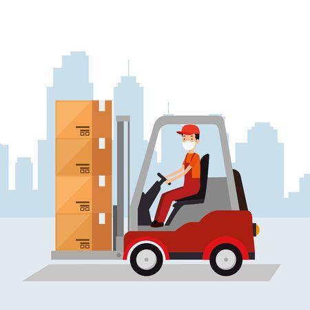 box package cargo in forklift with worker vector illustration design Vector Illustratie
